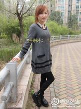 适合新手编织灰黑条打底衫欧丽 巧手妈咪手工作品