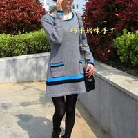 灰色A型淑女羊绒连衣裙 真人秀及简单编织过程