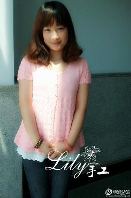 原创女士短袖开衫毛衣之粉桃 有真人秀及毛衣花样图解