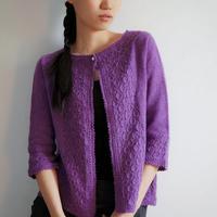 棒针紫色长袖女生开衫毛衣外套勿忘我 有真人秀及图解
