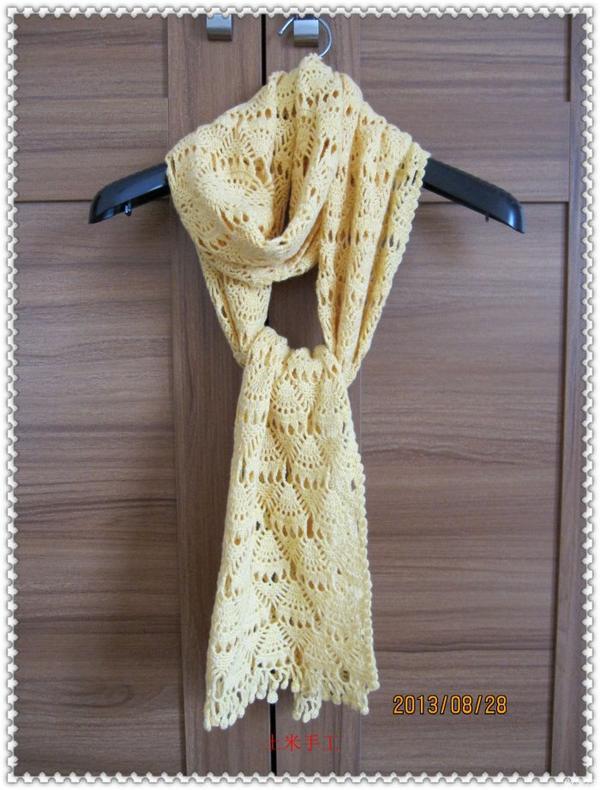 土米手工作品 一款漂亮的长款女士围巾(有图解)