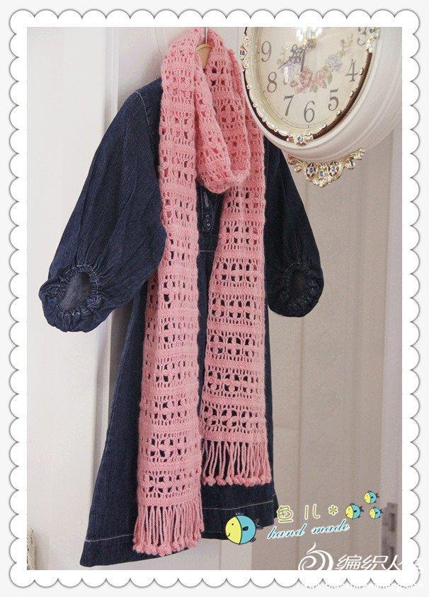 粉嫩嫩围巾花蕊 钩针编织女士围巾花样款式图