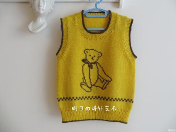 适合0-2周岁儿童的可爱泰迪熊毛衣背心 高清多图 详细教程