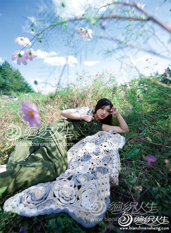 时尚拼花披肩,美女摄影图