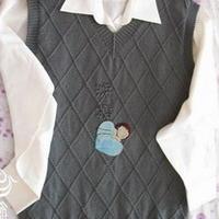 男式V领菱形背心棒针编织毛衣教程