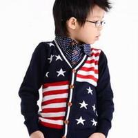 欧美风格男童针织开衫儿童棒针毛衣教程