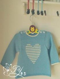 肩开扣心形图案婴儿毛衣编织教程