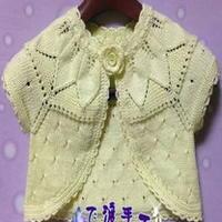 婴幼儿小披肩教程 从上往下织叶子育克袖小开衫