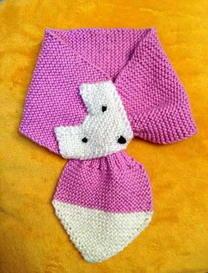 简单上下针可爱小狐狸围巾编织教程