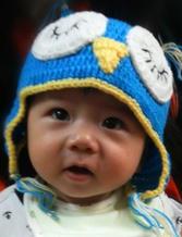 0到1岁婴幼儿Q版萌萌猫头鹰护耳帽