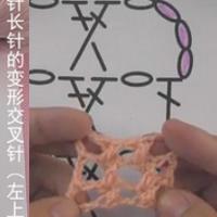 1针长针的变形交叉针(左上) 钩针基础针法视频教程
