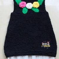 女童A字珊瑚绒背心裙 棒针儿童毛衣教程