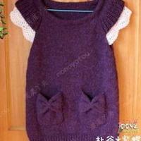 女童韩版小飞袖背心裙 儿童毛衣编织教程