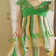 绿野流雲 钩织布结合亚麻美雪纺美裙教程