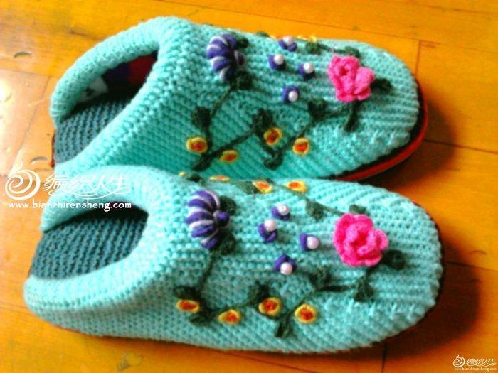 编织教程 钩织绣美丽居家拖鞋编织教程     新做的绿色绣花拖鞋 学做