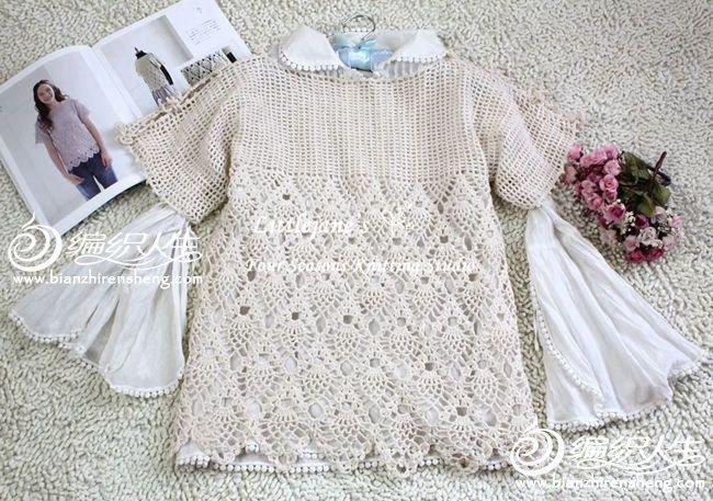 森女风格菠萝花罩衫