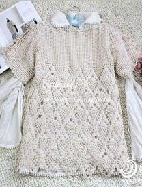肩部系带森女风格菠萝花罩衫 钩针编织
