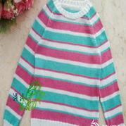 学龄前女童条纹撞色手编毛衣 棒针编织儿童毛衣