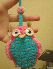 猫头鹰钥匙包的钩法 钩编玩偶