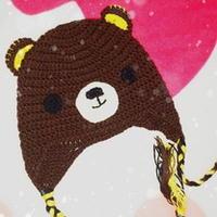 小熊钩编护耳帽 儿童钩针图案