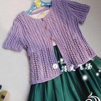 小森女麻花镂空女童棒针短袖开衫
