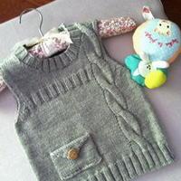一岁男童可爱背心 儿童棒针编织毛衣款式
