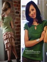 从上往下织褶皱花亲子版短袖T恤 棒针编织翻译教程