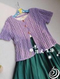 小森女绞花镂空针织开衫 棒针编织