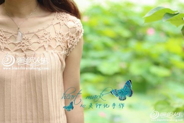 钩织结合拼花领女士针织罩衫