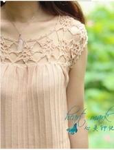 夏日清凉衫 钩织结合拼花领女士针织罩衫