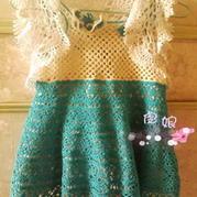 2-3岁女童钩编服饰套装 背带葱裙加桌布衣