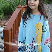 美丽如画海底世界 儿童棒针毛衣