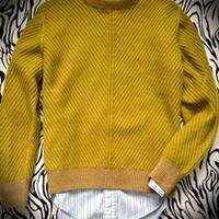仿BURBERRY男式圆领棱纹毛衣 棒针编织男士毛衣