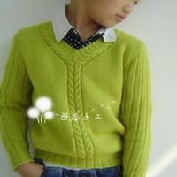 小男孩麻花V领毛衣 棒针儿童秋冬毛衣款式