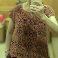 女士亚麻蕾丝拼花连袖短衫 钩针编织