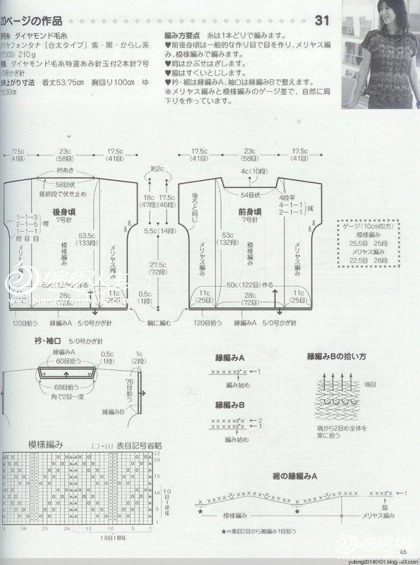 编织方法:  前后片:环针起162*2=324针,搓衣板3次,中间织