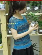 女士夏季针织罩衫 蓝系段染棒针编织短袖