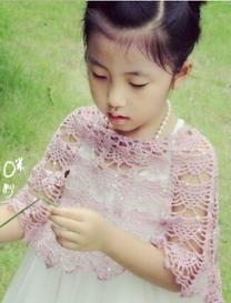 小童丝麻亮片小披肩 钩针编织