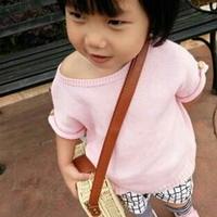 女童粉色学院风套头罩衫 棒针编织