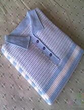 男士POLO衫 钩针编织有领短袖T恤