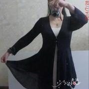 真丝蕾丝薄长外披 棒针编织女士开衫