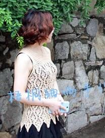 含蓄小圆领无袖钩衫 钩针编织女士夏衣