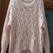 仿制《杉杉来了》粗线粉色系套头毛衣 棒针编织