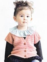 简单可爱的前开襟儿童背心 棒针编织