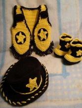婴幼儿拉风牛仔编织套装 钩针编织儿童服饰