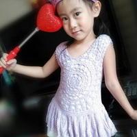 紫色梦童裙 钩针编织女童蕾丝小摆裙