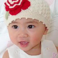 超靓宝宝帽子 花朵儿童手工钩织帽子