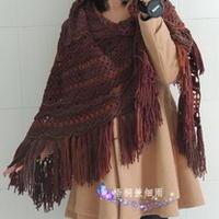 波西米亚风格披肩 钩针编织三角披
