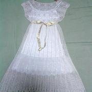 一字领高腰气质美裙 钩针编织