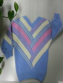 特别织法织三色交错格子毛衣 棒针儿童毛衣教程